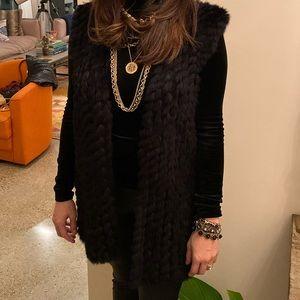 LINDA RICHARDS Fur Vest Rabbit black Medium